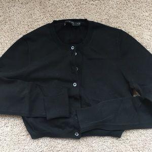 Crop long sleeve cardigan sweater